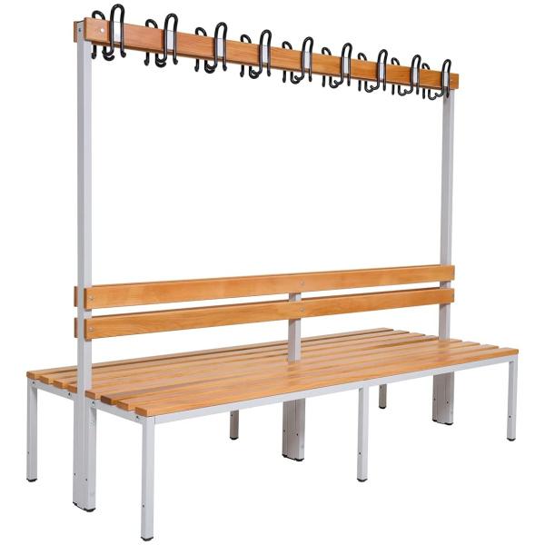 Umkleidebank Sitzbank doppelseitig mit Garderobenhaken