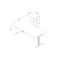Winkelschreibtisch Dona Grau 180 cm x 120 cm x 74 cm inkl. Beistellcontainer rechts gewinkelt