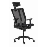 Bürodrehstuhl Netzrücken mit Kopflehne Reine schwarz
