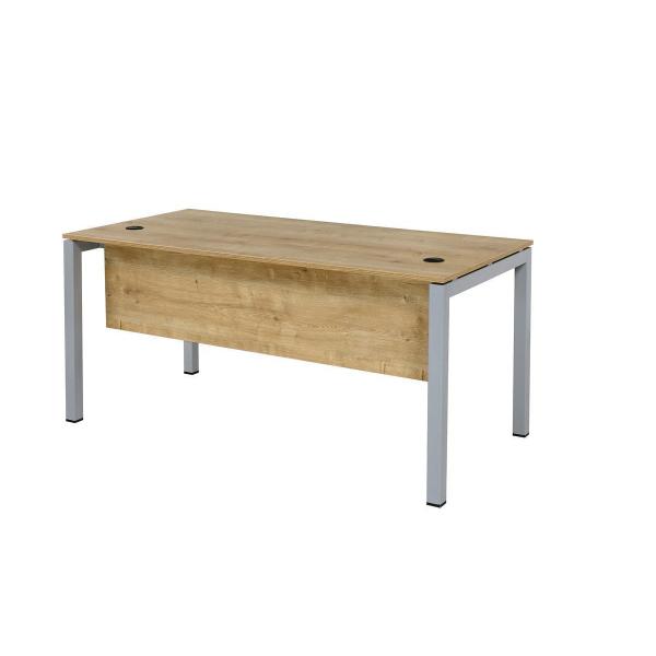Schreibtisch Tetra 160 x 80 x 75 cm Eiche/silber RAL 9006
