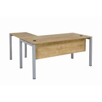 Schreibtisch Tetra 180 cm inkl. Anbau rechts o. links montierbar Eiche/silber RAL 9006