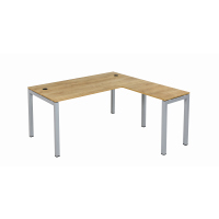 Schreibtisch Tetra 160 cm inkl. Anbau rechts o. links montierbar Eiche/silber RAL 9006