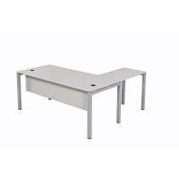 Schreibtisch Tetra 160 cm inkl. Anbau rechts o. links montierbar grau/silber RAL 9006
