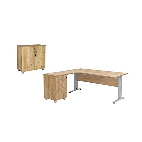 Büro Schreibtisch Set Dona Saphir Eiche Dekor, Bestehend aus: Schreibtisch inkl. Container mit 3 Schüben, links gewinkelt, Aktenschrank Saphir Eiche Dekor mit 2 Türen und 1 Einlegeboden