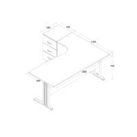 Büro Schreibtisch Set Dona Grau Dekor, Bestehend aus: Schreibtisch inkl. Container mit 3 Schüben, links gewinkelt, Aktenschrank Grau Dekor mit 2 Türen und 1 Einlegeboden