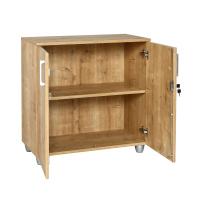 Büro Schreibtisch Set Dona Saphir Eiche Dekor, Bestehend aus: Schreibtisch inkl. Container mit 3 Schüben, rechts gewinkelt, Aktenschrank Saphir Eiche Dekor mit 2 Türen und 1 Einlegeboden