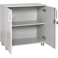 Büro Schreibtisch Set Dona Grau Dekor, Bestehend aus: Schreibtisch inkl. Container mit 3 Schüben, rechts gwinkelt, Aktenschrank Grau Dekor mit 2 Türen und 1 Einlegeboden