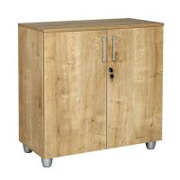 Büro Schreibtisch Set Tetra 160 cm, Eiche/silber RAL 9006, Bestehend aus: Schreibtisch, Rollcontainer mit 3 Schüben, Aktenschrank Saphir Eiche Dekor mit 2 Türen und 1 Einlegeboden