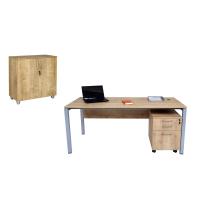 Büro Schreibtisch Set Tetra 180 cm, Eiche/silber RAL...