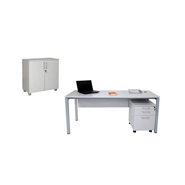 Büro Schreibtisch Set Tetra 160 cm, grau/silber RAL 9006, Bestehend aus: Schreibtisch, Rollcontainer mit 3 Schüben, Aktenschrank grau/silber mit 2 Türen und 1 Einlegeboden