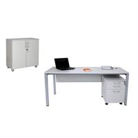 Büro Schreibtisch Set Tetra 180 cm, grau/silber RAL...