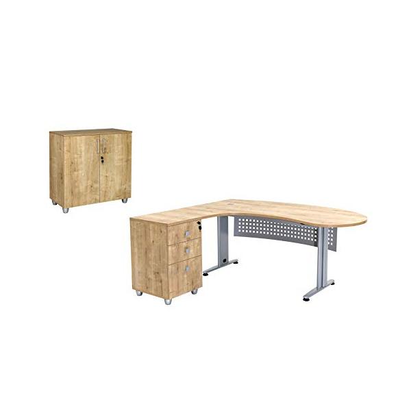 """Büro Schreibtisch Set 1 """"GELA"""" Eiche Dekor, links gewinkelt, Bestehend aus: Schreibtisch Freiform inkl. Beistellcontainer mit 3 Schüben, Aktenschrank Eiche Dekor mit 2 Türen und 1 Einlegeboden"""