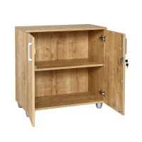 """Büro Schreibtisch Set 2 """"GELA"""" Eiche Dekor, rechts gewinkelt, Bestehend aus: Schreibtisch Freiform inkl. Beistellcontainer mit 3 Schüben, Aktenschrank Eiche Dekor mit 2 Türen und 1 Einlegeboden"""