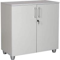"""Büro Schreibtisch Set 2 """"GELA"""" grau Dekor, rechts gewinkelt, Bestehend aus: Schreibtisch Freiform inkl. Beistellcontainer mit 3 Schüben, Aktenschrank grau Dekor mit 2 Türen und 1 Einlegeboden"""