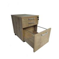 Büro Schreibtisch Set 2 Nuvi Saphir Eiche Dekor, Bestehend aus: Schreibtisch 180 cm, Rollcontainer 3 Schübe & Aktenschrank mit Türen, verstellbarer Fachboden, 80 cm hoch