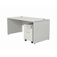 Büro Schreibtisch Set 2 Nuvi grau Dekor, Bestehend aus: Schreibtisch 180 cm, Rollcontainer 3 Schübe & Aktenschrank mit Türen, verstellbarer Fachboden, 80 cm hoch